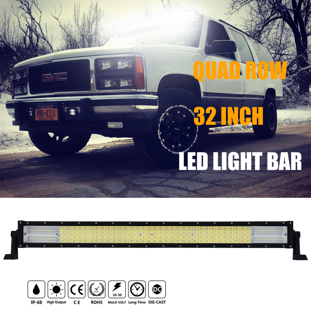 32 Inch 4-Row 8D LED Light Bar 564W Curved Led Bar Auto LED Work Light 12V Combo Beam for Offroad SUV ATV Truck 4x4 Uaz JEEP 3 row 32 inch 459w curved led light bar offroad led bar flood spot combo beam for jeep atv 4wd truck suv 12v 24v led work light