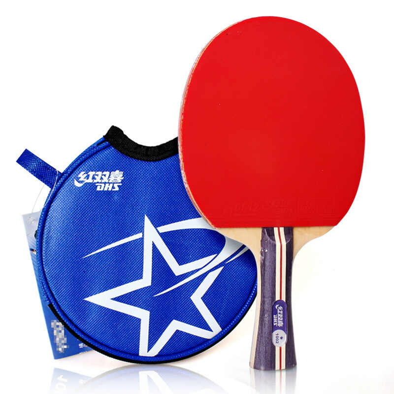 DHS Table Tennis Racket (1002, 1006) with Rubber (pips-in) + Bag Case 1-Star Set Ping Pong Bat