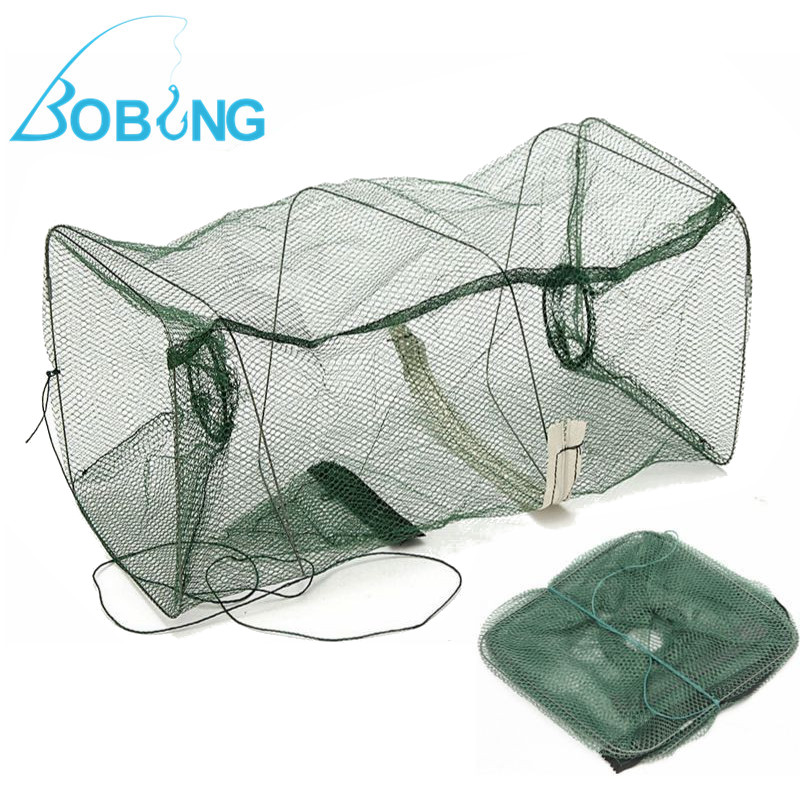 Folded Fishing Net Tackle Small Fish Shrimp Minnow Crab Bait Cast Mesh Cage Trap
