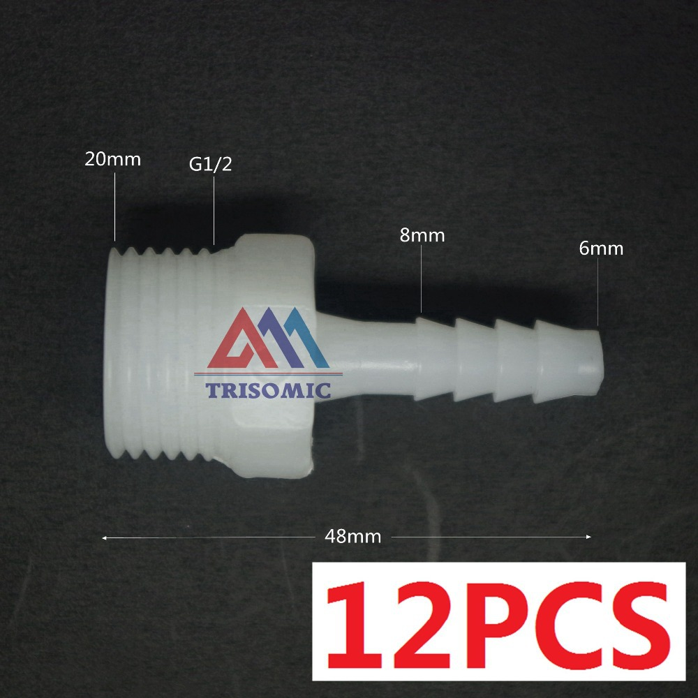 12 pieces 6mm-G1/2 Straight Connector Plastic pipe Fitting Barbed with thread Material PE Joiner Fitting Aquarium Fish