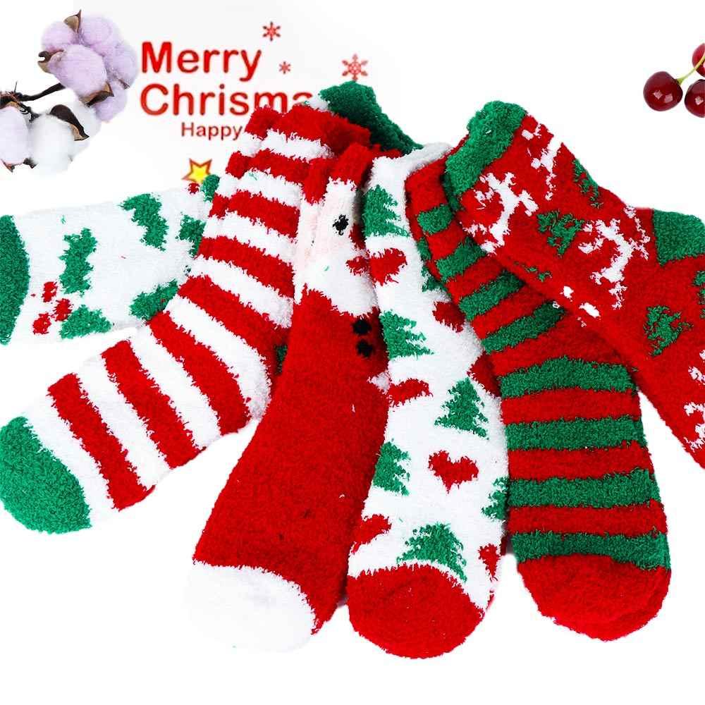 Рождественские хлопковые носки женские коралловые флисовые теплые носки женские милые печатные Костюмные носки для четырех сезонов один размер
