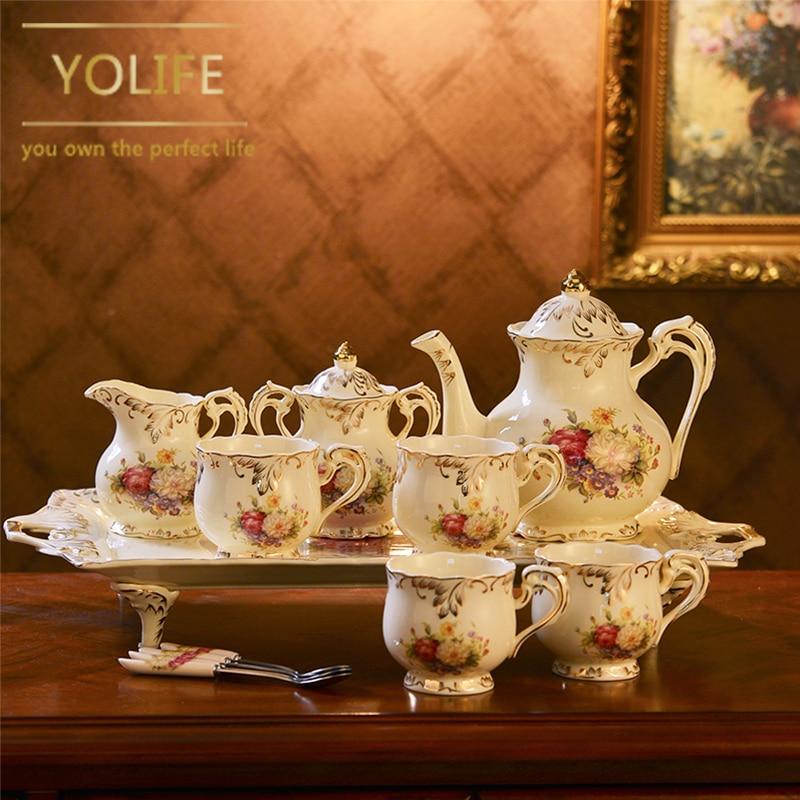 Style européen Ivoire Porcelaine Teaware Service Plateau de Tasse de Thé En Céramique Thé Pot Lait Sucre Cruche Pour Cadeaux De Mariage
