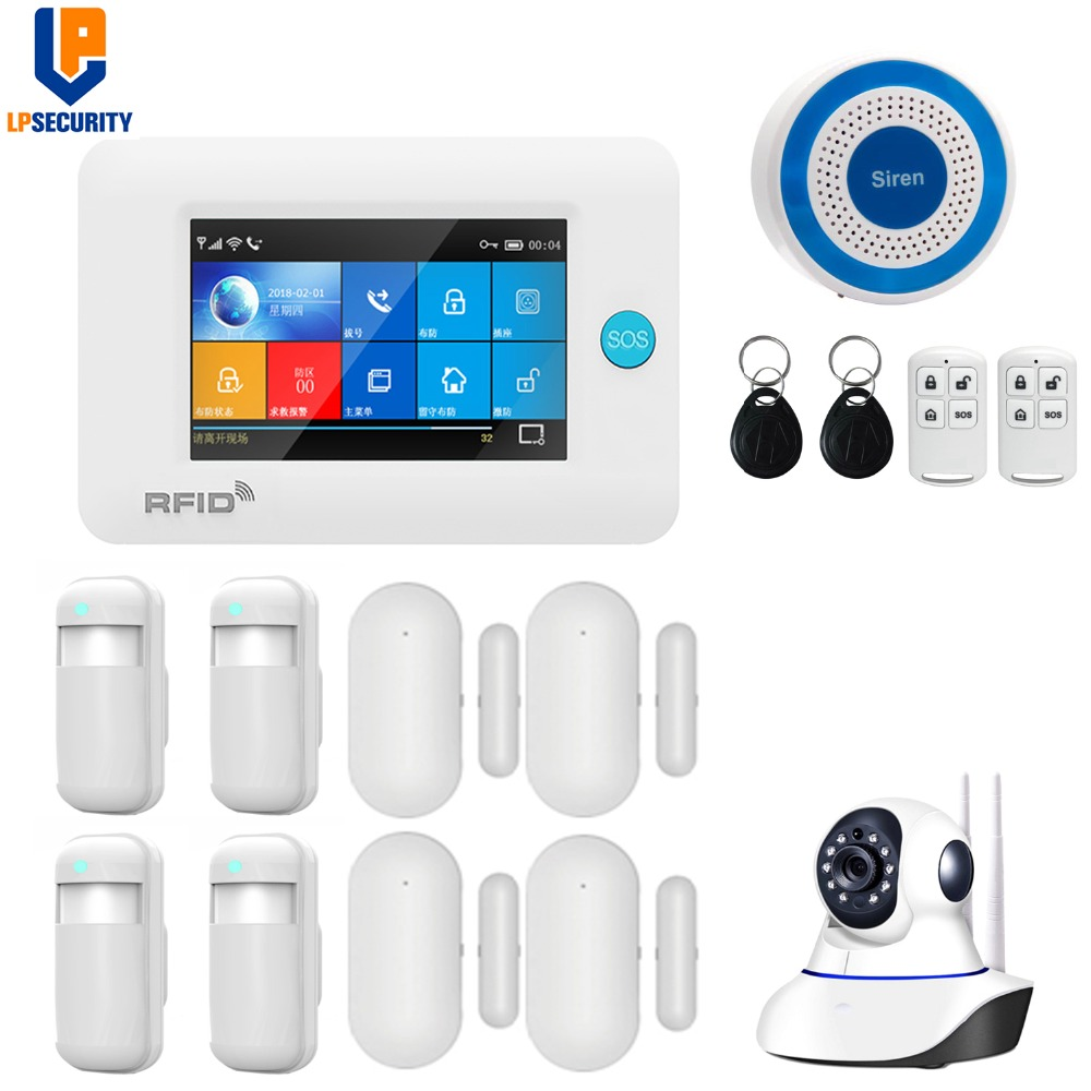 Wireless WiFi 3G GSM GPRS intelligent home Alarm system 4 3 inch Touch Screen APP remote