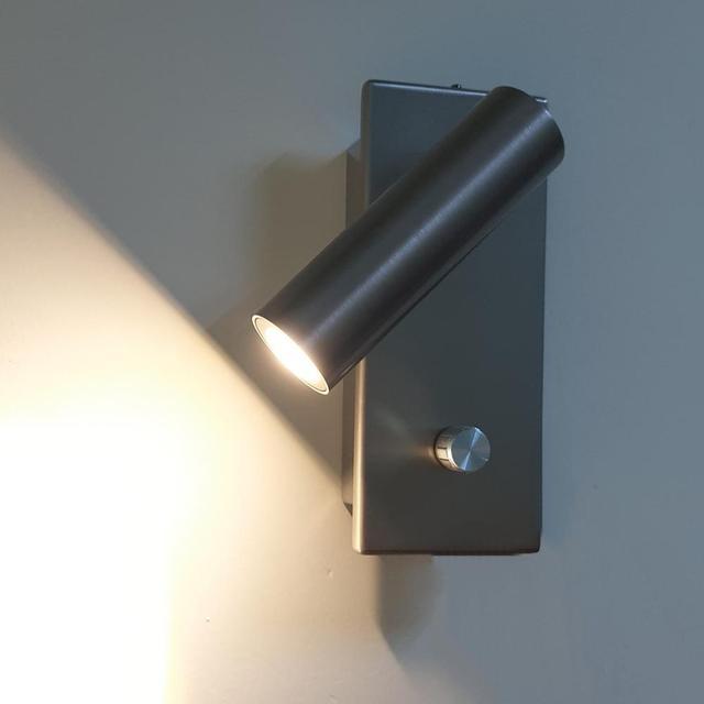 Apextech kısılabilir led duvar lambası yatak odası başucu okuma ışıkları topuzu Dimmer anahtarı gömme duvara monte gece lambası otel için