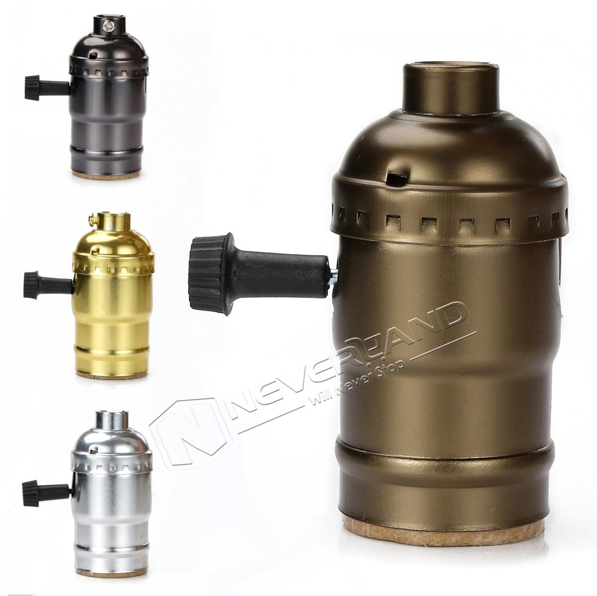 Aluminum Lamp Holder Socket With Switch E27 Pearl Black/Antique Brass/Gold/Silver DIY Lighting Fitting Vintage Light Base