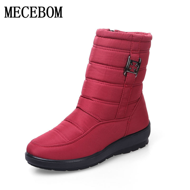 MECEBOM Waterproof Warm Fur Snow Boots Winter Shoes Woman