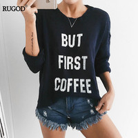 Rugod 2017 Early Autumn European Style High Quality Knitted Sweater Women Cotton Pullover Letter Print Sweater