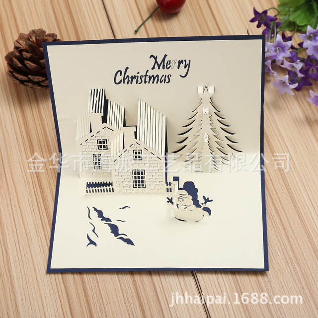 Manufacturers selling christmas castle 3d solid laser hollow manufacturers selling christmas castle 3d solid laser hollow christmas cards new year greeting card custom logo m4hsunfo