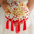 Luxury Handmade Pearl Bruidsboeketten Crystal Wedding Bouquets Red Gold Traditional Chinese Style Bridal Bouquet  For Brides