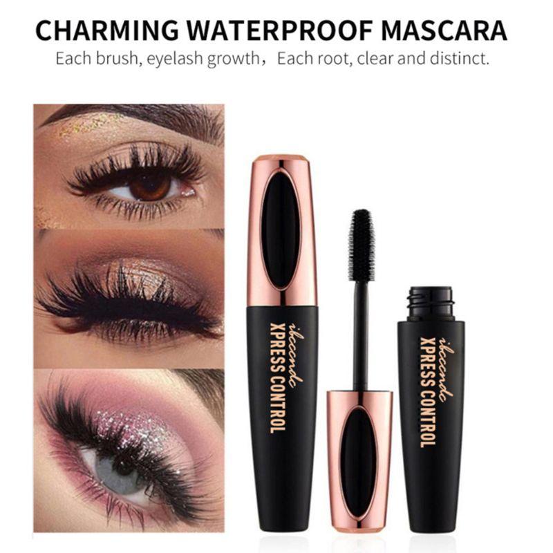 32c2dd981ea Waterproof Long Lasting 4D Lash Mascara Silk Fiber Curling Eyelash  Extension Black Thick Lengthening Cream Makeup Cosmetic 10CM