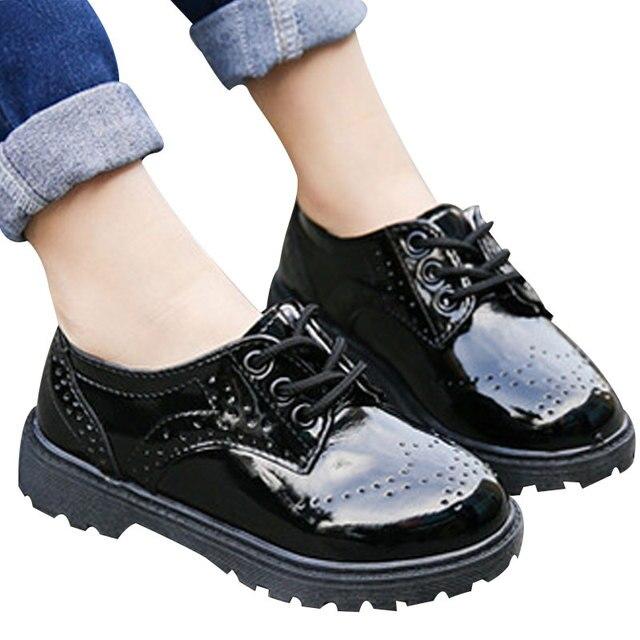 Осень Классический Дети Мальчики PU Кожаные Ботинки Младенца Девушки Способа Высокого Качества Prinesss Обувь Chaussure Enfant Для 4-12 лет