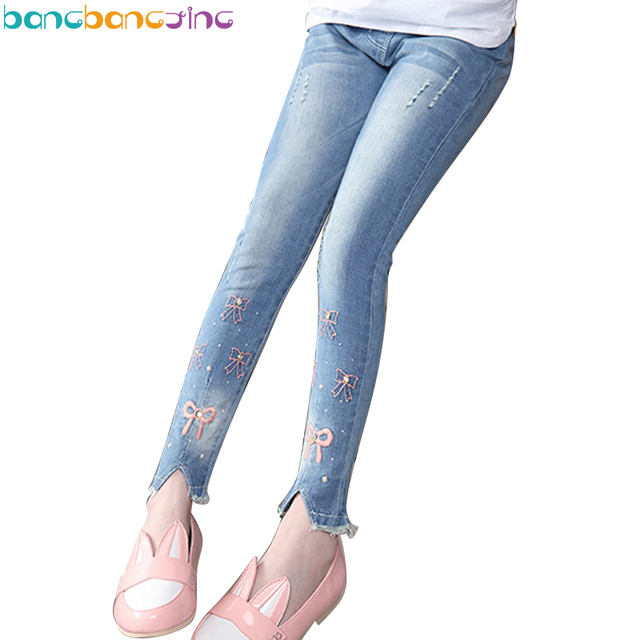 2018 Spring Skinny Denim Trousers Pants Teenage Girl Jeans Cotton Pants for Big Girl Soft Trousers Jeans Age 3-15