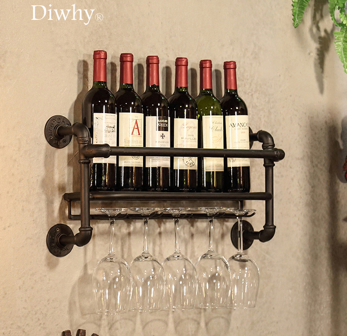 6 Bottles Metal Wine Rack Industrial Style Wall Mounted Bottle Holders Goblet Hanging Kitchen Decoration Wine Racks double wine wall decal