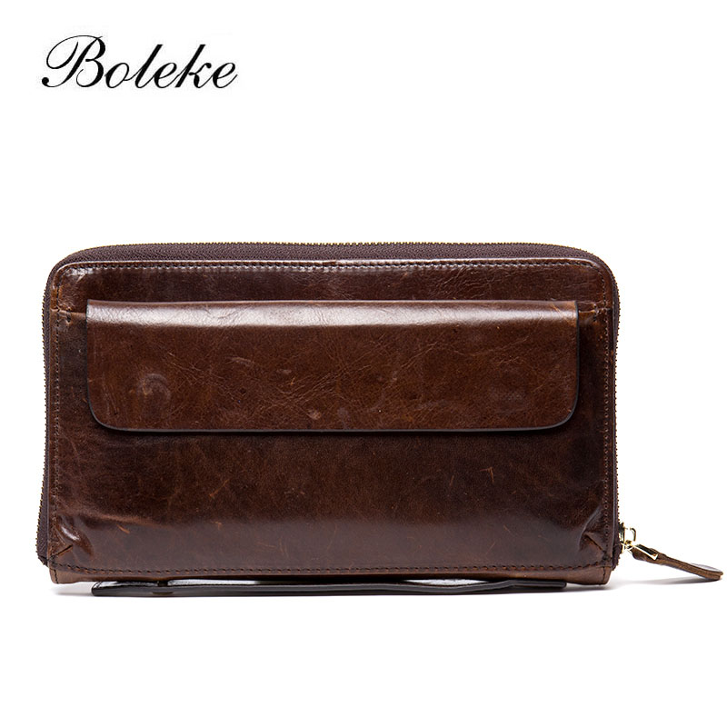 Brand Men Genuine Leather Clutches Male Cowhide Wallet Purse Man Retro Vintage Long Money Pouch Oil Wax Leather Handy Bag 1003-1 us and european hot selling new high quality vintage men s long money wallet baellerry wholesale purse clutches for man w008