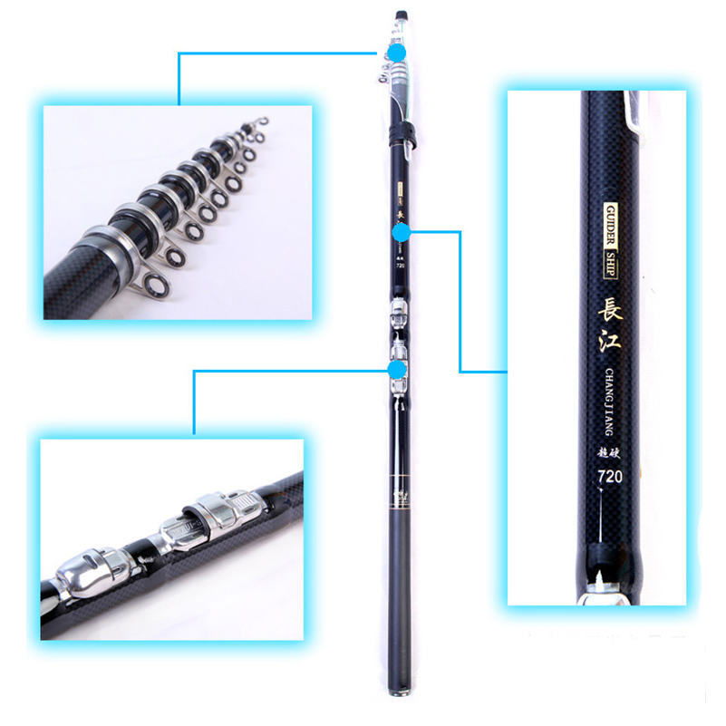 3.6m 4.5m 5.4m 6.3m 7.2m Fast Action Rock Sea Fishing Rod Pod Telescopic Carp Feeder Pol ...