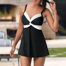 2020 Plus Size Bademode Frauen Rock Tankini Badeanzug Zwei Stück Retro Schwarz Badeanzug Große Größe schwimmen anzug für Frauen s 5XL