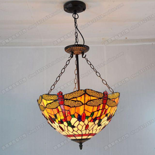 40 Cm Anti Europäischen Stil Libelle Anhänger Tiffany Glas Lampen Schlafzimmer Englisch Bar Cafe