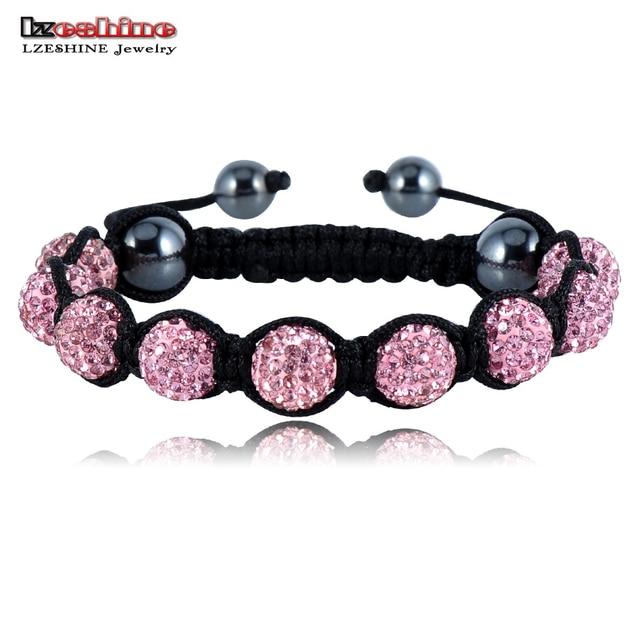 LZESHINE Sales Promotion 10mm Crystal AB Clay Disco Ball Shamballa Bracelets & Bangles Mix Colours Options pulseira SHABSmix1