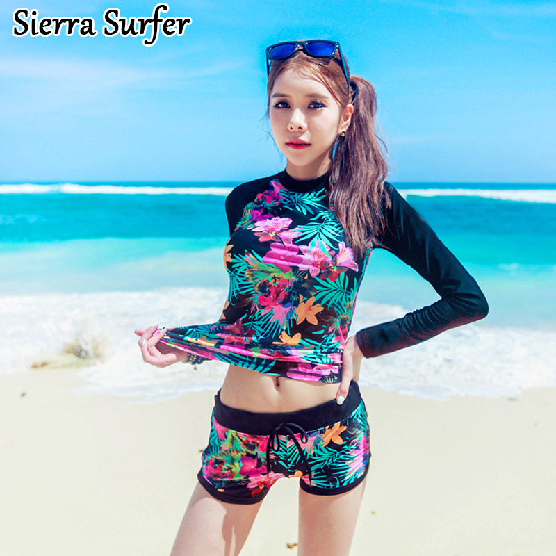 Women's Swimwear Tankini Swimsuit Female 2019 Swimsuits Women Plus Size With Shorts Bathing Robe Suit Split Long Sleeve Beach