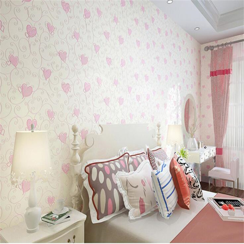 beibehang High fashion Korean beautiful heart-shaped wall paper The girl princess room The marriage room wall paper papier peint