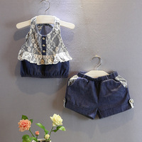 Baby Girls Navy Blue Summer Clothes Sets Jeans Clothing Set With Lace Strap Tops And Jean