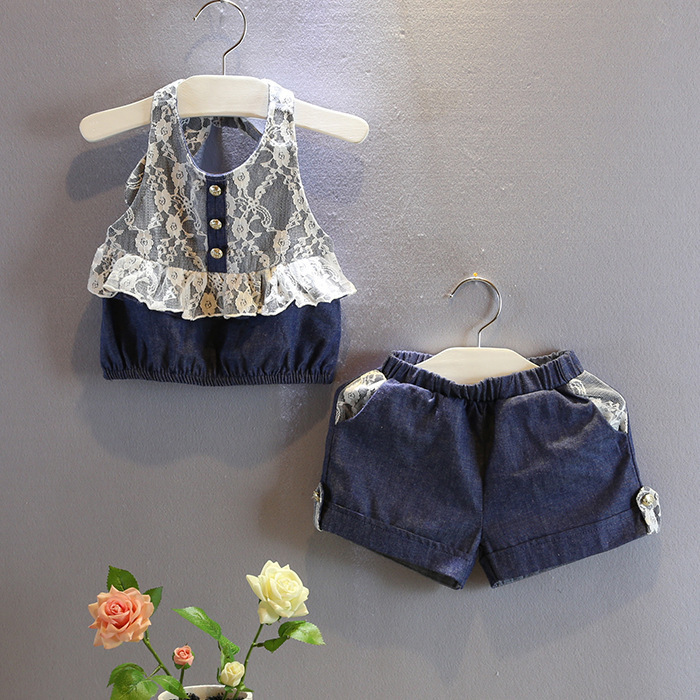 Baby girls navy blue summer clothes sets jeans clothing set with lace strap tops and jean pants girls sets clohes for baby kids 2pcs children outfit clothes kids baby girl off shoulder cotton ruffled sleeve tops striped t shirt blue denim jeans sunsuit set