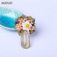 Jiuduo 2017ファッション模擬パールフラワーブローチ用女