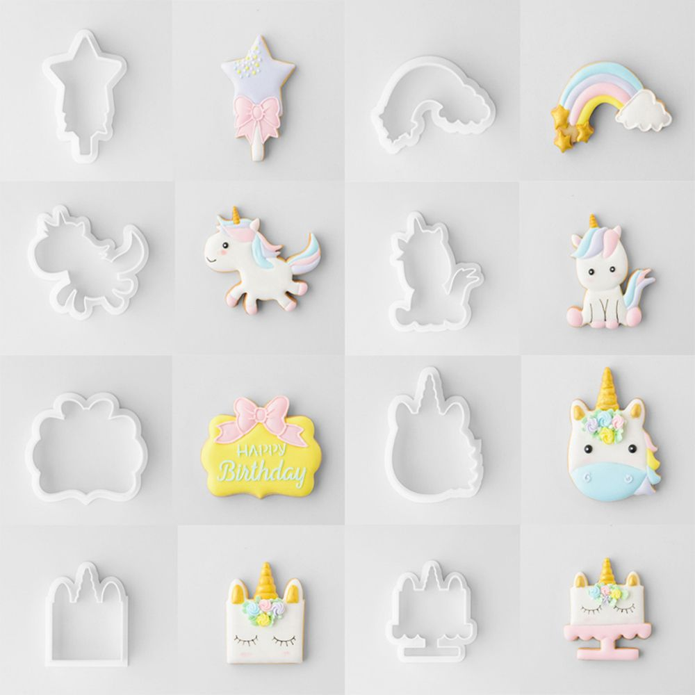 8 6pcs Set Unicorn Cookie Biscuit Embossing Mould