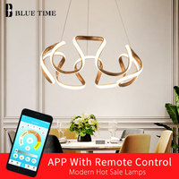 Creative Modern Home LED Pendant Lights For Living Room Bedroom Dining Room Plated Golden Frame Pendant Lamps Input AC 110V 220V