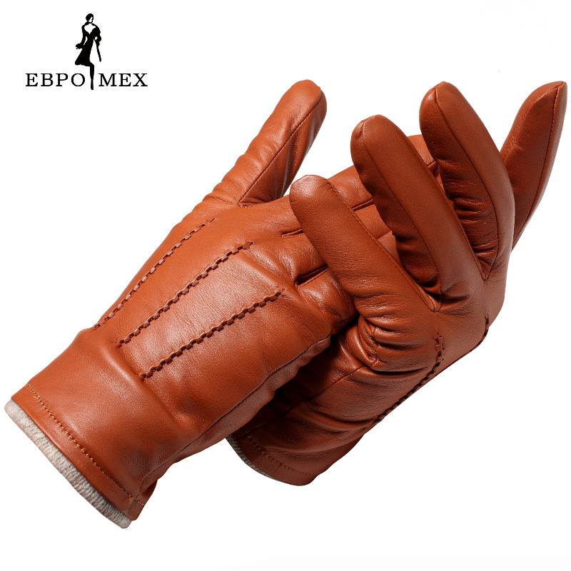 2017 autumn and winter fashion leather gloves men leather gloves brown and black men designer style Genuine Leather gloves