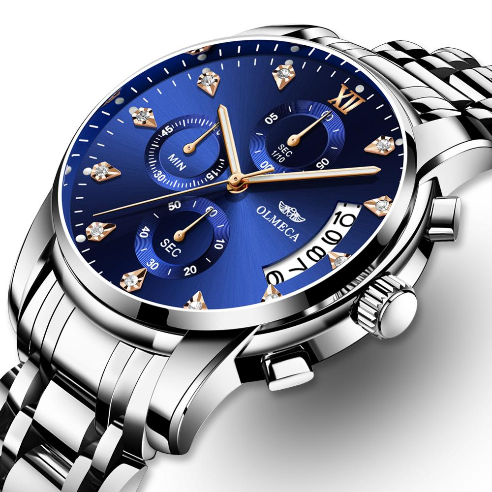 Relogio Masculino Men Watch Luxury Sports Watches 3ATM Waterproof Clock Chronograph Wristwatch Stainless Steel Band Saat