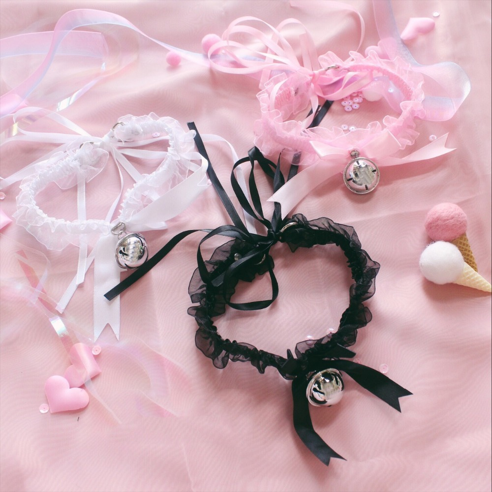 Fashion Kawaii Lolita Lace Floral Jingle Bell Choker Sex Accessories Handcrafted Ribbon Bow Bowknot Collar Necklace Neckband