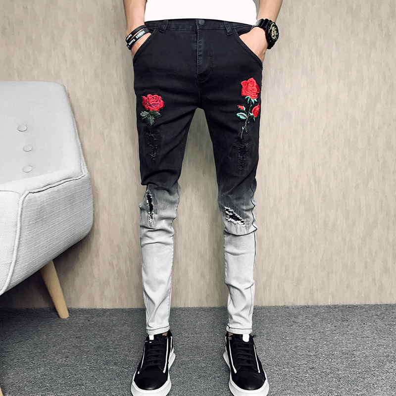 Summer New Skinny   Jeans   Men 2019 Fashion Flower Embroidery Men   Jeans   Casual Slim Fit Black Hip Hop Denim Pants Men Trousers 34