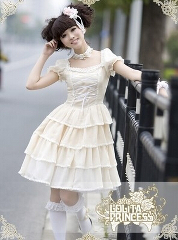 웃 유LL36 Long Sleeveless Sweet Lolita Short Dress Ball Gown Fancy ...