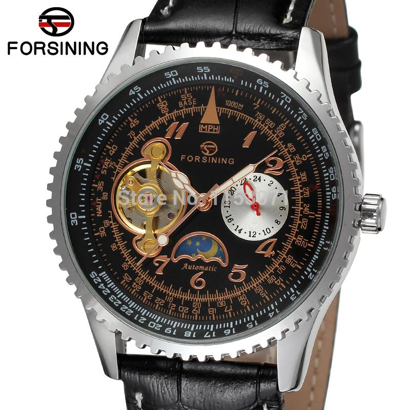 FSG034M3S2 new design men Automatic business wrist watch with moon phase black genuine leather strap gift box for free shipping цена