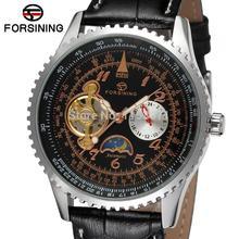 FSG034M3S2 новый дизайн мужчины Автоматическая бизнес наручные часы с фазы луны черный кожаный ремешок подарочной коробке для бесплатной доставкой
