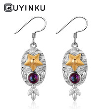 GUYINKU Double Color Silver Drop Earrings Created Mystic Topaz Rainbow Earrings Colorful Gemstone Jewelry For Women Gift guyinku oval created mystic topaz rings rainbow colorful gemstone 925 sterling jewelry for women engagement rings gift