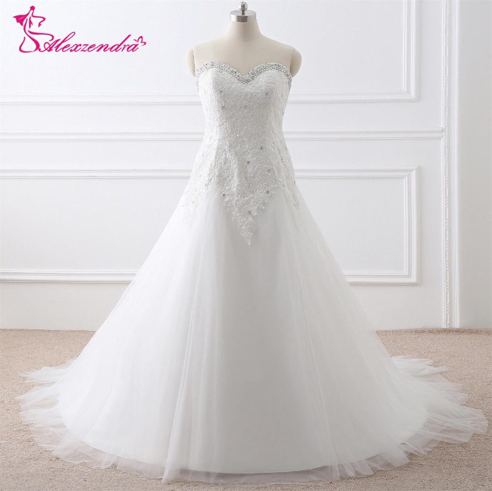 Alexzendra Stock Dresses Plus Size A Line Wedding Dress Sweetheart Beaded Bridal Gowns Ready to Ship