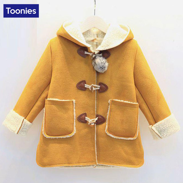2016 New Fashion Kids Children Clothing Baby Girls Princess Single Breasted Hooded Woolen Overcoat Trench Girls Wool Dress Coat
