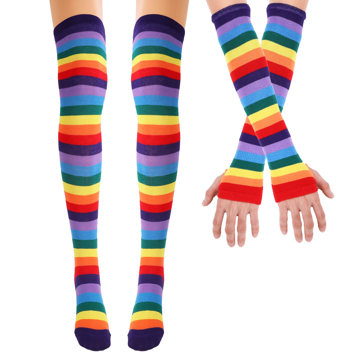 MSemis Colorful Rainbow Stockings Striped High Thigh Knee Socks Arm Warmer Gloves Halloween Costume Party Cosplay Holiday Gifts