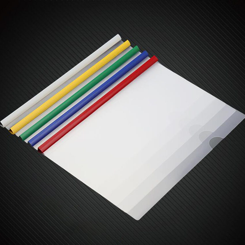5 PCS/Lot A4 Report Covers With Sliding Bar, Clipbar Presentation Slidebinder Files 50 Sheets Capacity, Blue Green Yellow Red