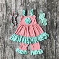 Toptan bebek kız yaz bahar giyim kız nane yeşil fırfır dress kızlar butik çiçek kıyafetleri ile kolye ve yaylar