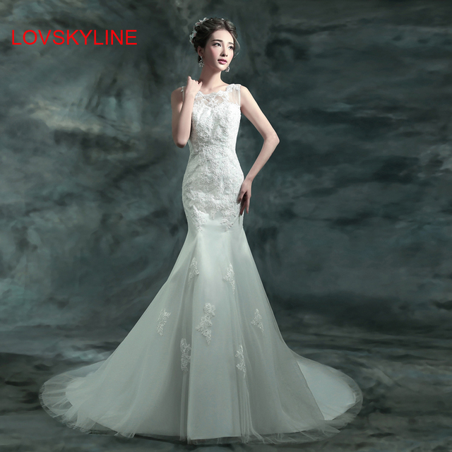 Y O Neck Racerback Lace Fish Tail Sweep Train Bride Wedding Dress Formal Summer