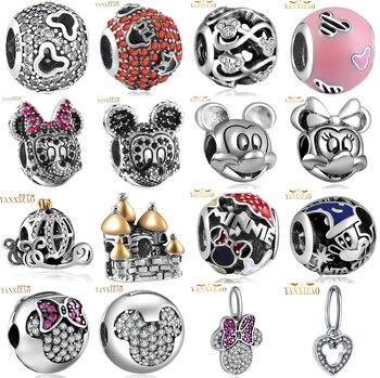 YANXIZAO, Хит, 925, серебро, Европейский кубический Шарм, бусины, подходят к Пандоре, стиль, браслет, подвеска, ожерелье, сделай сам, ювелирное издел...