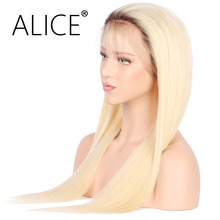 ALICE T4/613 Blonde Color Dark Roots Brazilian Non-Remy Human Hair Full Lace Wig Silky Straight Ombre Color Human Hair Wigs