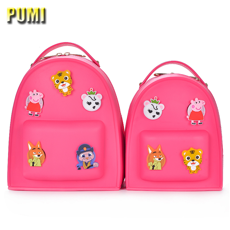 Cute Cartoon Medal Women Casual Backpack Candy Color Jelly Bag for Children Kids Teenagers Silica Gel