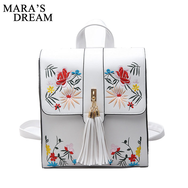 Mara's Dream Girls Backpacks Fashion Embroidery School Bags New Women Backpack PU Leather Female Shoulder Bag Mochilas Mujer 2017 new embroidery butterfly women backpack school bags for girls brand shoulder bag fashion pu leather ladies travel backpacks