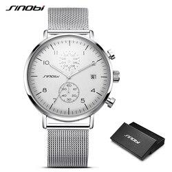 SINOBI New Ultra-Thin Chronograph Watches Men's Watch Luxury Brand Man Quartz Wrist watches Geneva Male Clock Relogio Masculino