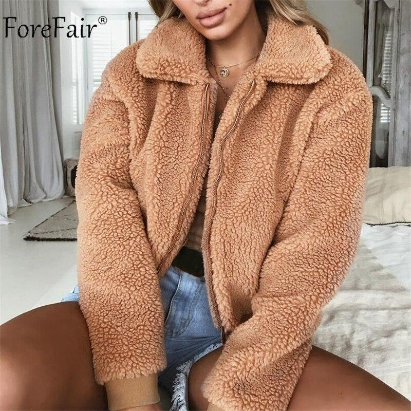 Forefair Fleece Jacke Frauen Winter Faux Pelz Teddybär Streetwear Revers Plus Größe Warme Casual Cropped Pelz Bomber Jacke