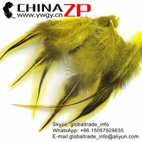 CHINAZP Factory Cheap Wholesale 50pcs/lot Superior Quality Dyed Yellow Rooster Laced Pointy Cape Feathers Cloth Accessories